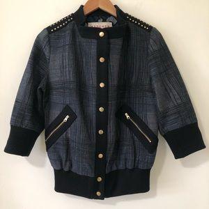 Anthropologie Mädchen Plaid Studded Bomber Jacket